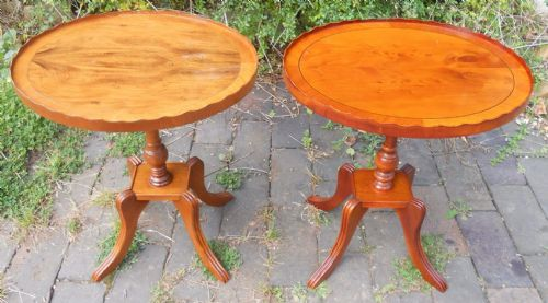 Near Pair Oval Pedestal Yew Wine Tables